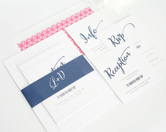 Свадьба - Pink and Navy Wedding Invitation - Pink and Blue, Hot Pink, Fuchsia, Fushcia, Dark Blue - Invitations - Modern Script Design  - Sample Set