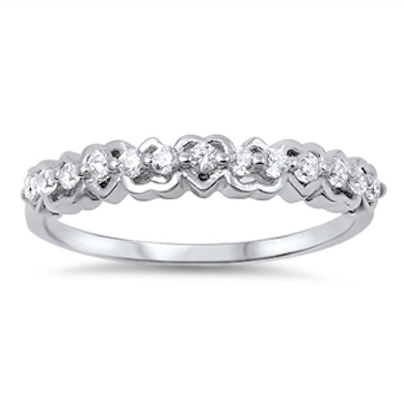 Mariage - Fashion 925 Sterling Silver 0.20 Carat Round Russian Clear Crystal Diamond CZ Half Eternity Cute Heart Promise Ring Band Valentines Gift