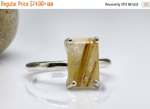 Mariage - 25% Off Sale - golden rutilated quartz ring,silver ring,gemstone ring,rectangle ring,gold silver ring,custom ring