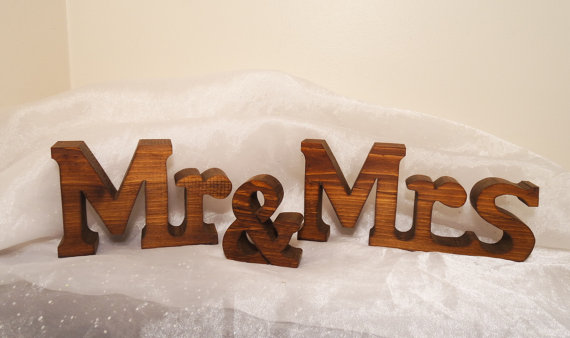 Wedding - Chunky Mr and Mrs Wedding Sign Letters for Wedding Sweetheart Table, Chunky Mr and Mrs Wood Letters, Wedding Centerpiece, Mr and Mrs Signs
