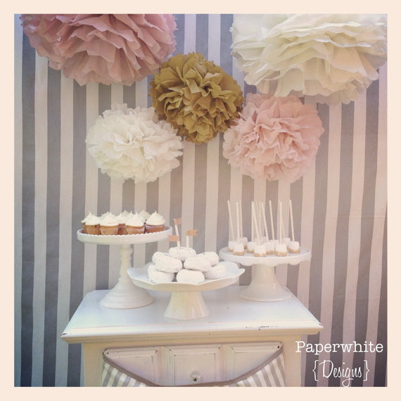 Mariage - Melanie Collection- 5 pom poms- blush and gold tones/ vintage wedding/ girl baby shower decoration