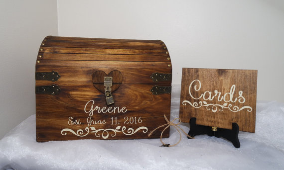 Rustic Wooden Wedding Card Chest With Card Slot Personalized – Large Wedding Card Box