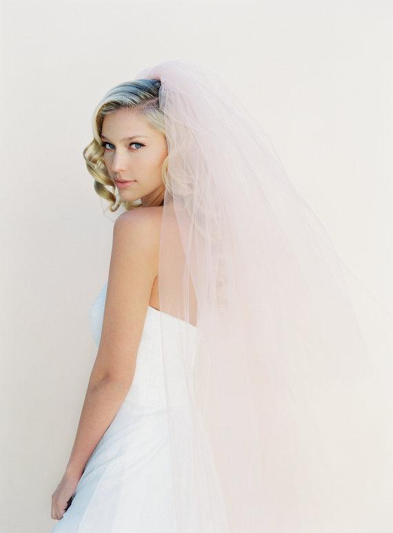 Свадьба - Wedding Veil, Bridal Veil, Cathedral Veil, Fingertip Bridal Veil, Tulle Wedding Veil, Illusion Veil, Blush Veil, Chapel Length Style 0802