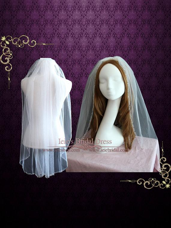 زفاف - Single Layer Fingertip Wedding Bridal Veil With Jeweled Edge