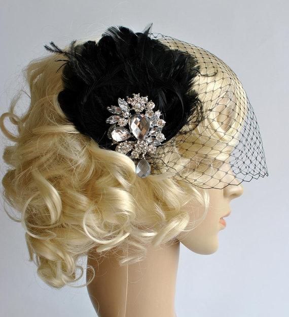 Mariage - Fascinator and Black Bandeau Veil, Birdcage Veil, Wedding Veil, Bridal Bird Cage Veil with Fascinator,  Great Gatsby 1920s headpiece