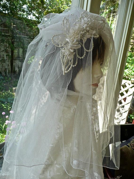 Hochzeit - Wedding Veil and Hair Piece -Vintage White Tulle Veil - Hand Cut Silk Flowers - Pearl Embellished Veil - Vintage Wedding - Wedding Apparel