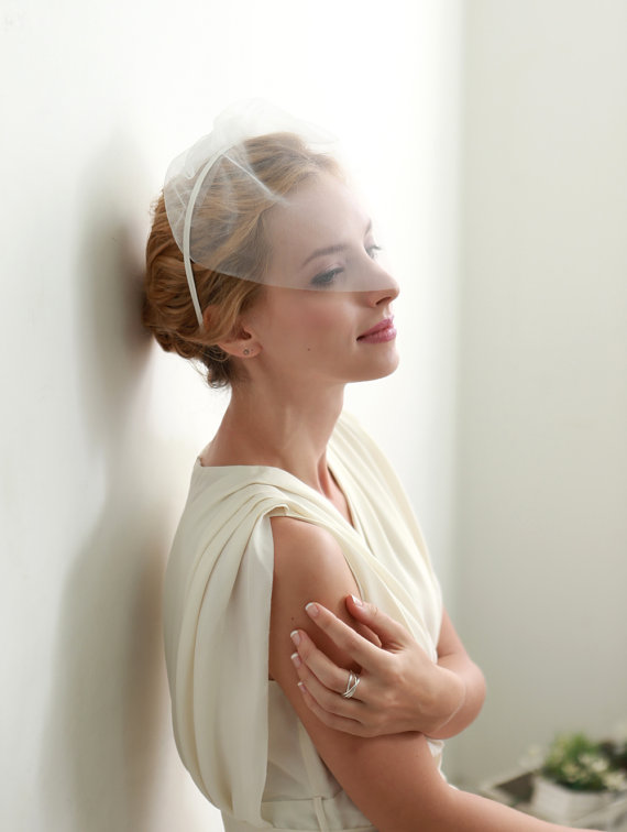 Свадьба - Wedding blusher, headband birdcage, bridal blusher, wedding face veil - style #303