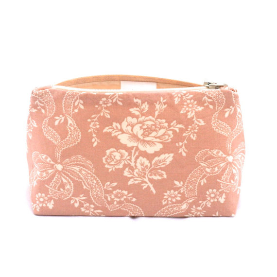 Bridesmaid Gift Makeup Bag In Vintage Dusty Rose Cosmetic Bag Floral