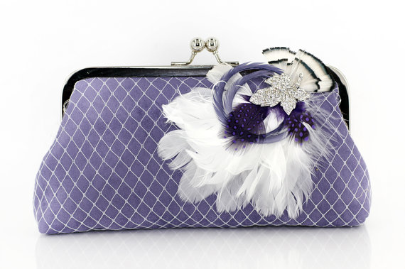 Свадьба - Lilac Purple Bridesmaids or Bridal Clutch with Rhinestone Feather Brooch 8-inch PASSION