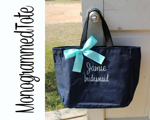 Wedding - 7 Personalized Bridesmaid Gift Tote Bags Monogrammed Tote, Bridesmaids Totes, Personalized Tote, Wedding Tote Bag, Maid of Honor Gift