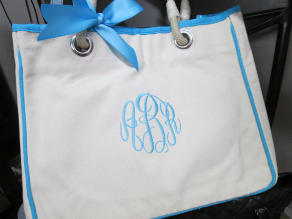 Mariage - 7 Monogrammed Bridesmaid Gift Wedding Totes with Rope Handle for Wedding Bridal Party, Personalized Canvas Tote Bag
