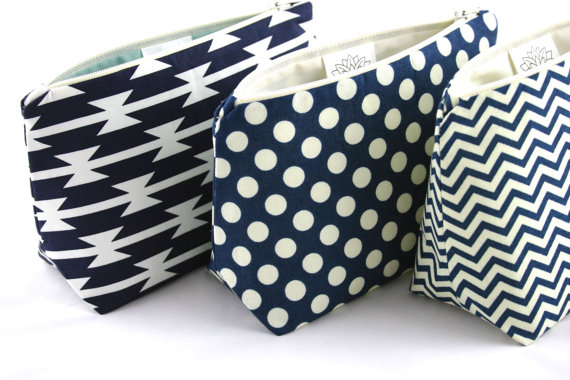 Wedding - Six Navy Blue Bridesmaid Gifts in Bulk: Wedding Party Favors, Mix and Match!