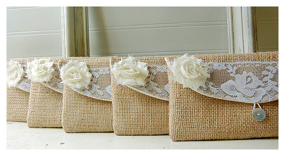 Mariage - burlap lace clutch purse set 4 rustic wedding rose color choice bag purse Personalize Bridesmaid party  Custom Pouch gift MakeUp