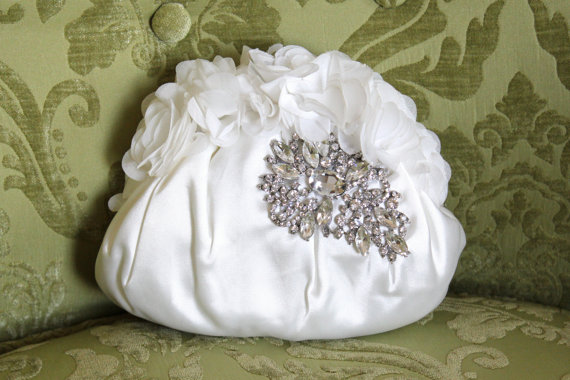 Wedding - Ivory Satin Bridal Clutch, Wedding Clutch, Vintage Style Bridal Clutch Purse with Chiffon Flutters and Crystal Rhinestone Brooch