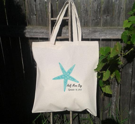Mariage - SALE  25 Tote Bags Custom Printed Tote - Wedding Totes - Starfish Beach