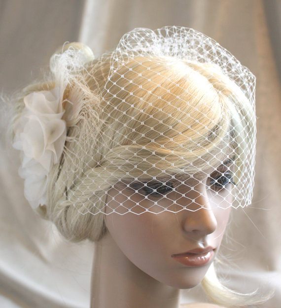 Mariage - Ivory Silk organza flowers hair clip and birdcage veil ( 2 items) wedding reception bridal party