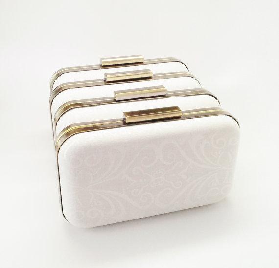 Wedding - ivory bridal clutch, bridesmaids, set of 4 clutches, ivory shimmer clutch, bridesmaid gift, ivory clutch, metallic clutch, wedding clutch