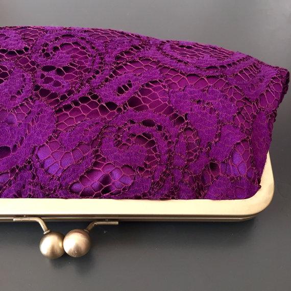 Wedding - Eggplant Lace Clutch