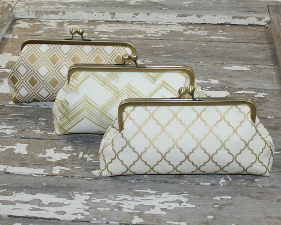 Wedding - Gold Ivory Bridesmaid Clutch, Bridesmaid Gift, Bridal Accessory Design Your Own Set, Wedding Party Gift Set