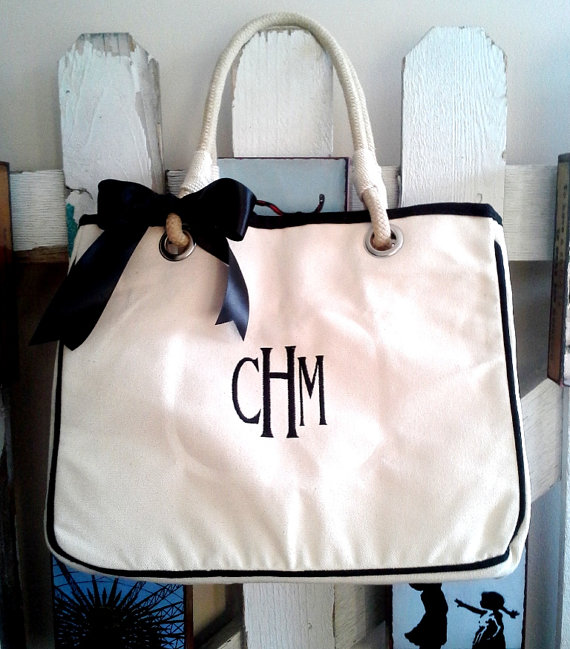 Hochzeit - Set of 4 Personalized Canvas Tote Rope Totes, Bridesmaid Gift Tote, Monogrammed Tote Bag