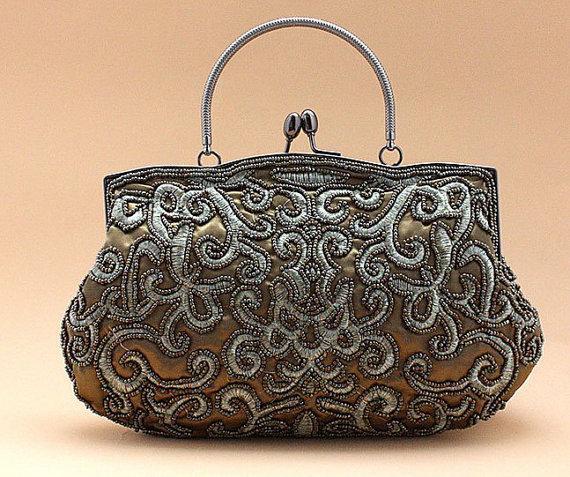 Wedding - Dark olive green beaded handbag purse - ready to ship