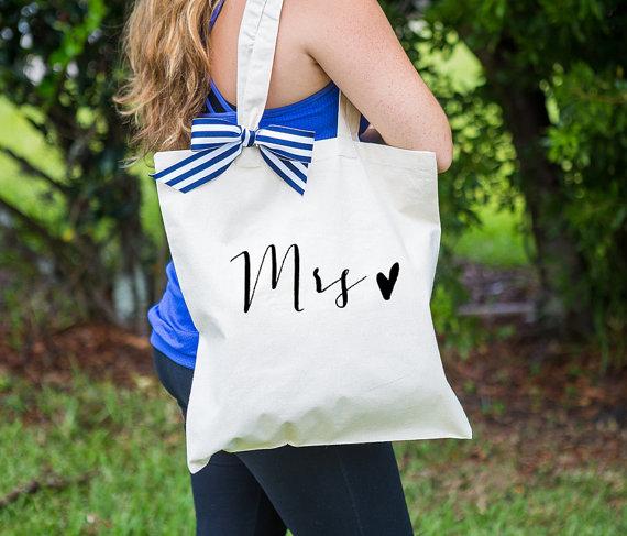 Wedding - Mrs Bag for Wedding or Bridal Shower Gift, Canvas Bag for Newlywed, Striped Ribbon Bag for Wedding Gift  ( Item - BMR300)