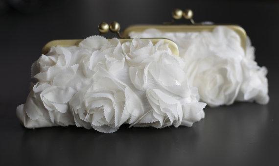 زفاف - Fairy Tale Wedding - Rosette Ivory Clutch