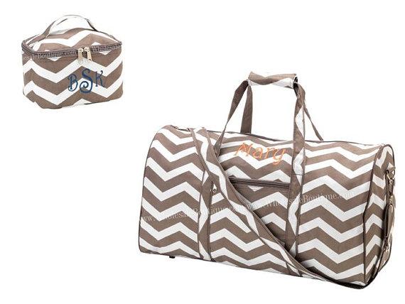 Wedding - Monogrammed Personalized travel set 2 Pc Taupe Chocolate Chevron Large Duffle & Mini Cosmetic Case Sports Dance Overnight Bag