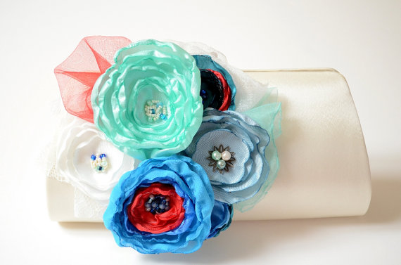 Wedding - Ivory Bridal Clutch Something Blue Flower Bouquet Clutch * Ocean Blue * Dusty Blue * Navy Blue * Red * Aqua Mint * Teal Turquoise Statement