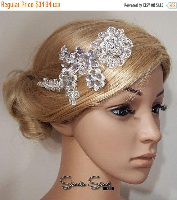 Wedding - 40% SALE Bridal Head piece, Bridal Hair Comb, Wedding Hair Comb, bridal Fascinator, Bridal Hair Clip, Wedding Fascinator, Ivory lace flower