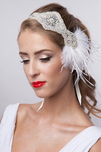 Wedding - Rhinestone pearls flapper Gatsby Headband, Wedding Headband,Crystal Headband,Wedding Headpiece,Halo Bridal Headpiece, 1920s Flapper headband