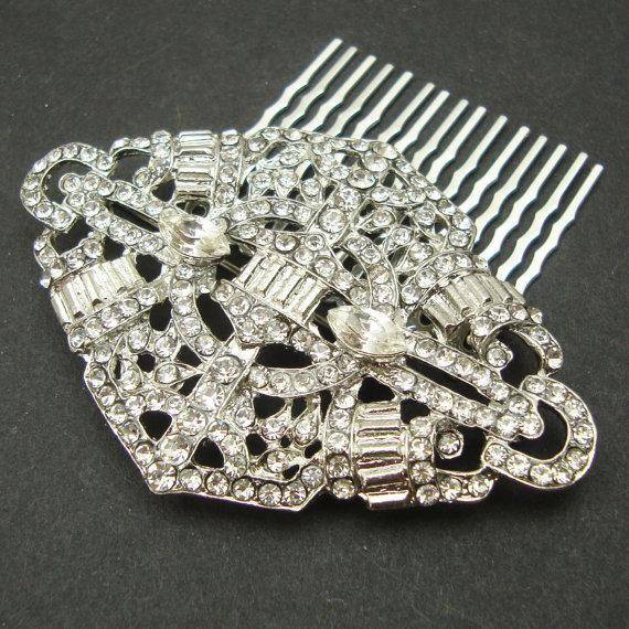 Hochzeit - Bridal Hair Comb, Art Deco Crystal Wedding Hair Comb, Vintage Style Wedding Rhinestone Hair Comb, Bridal Wedding Headpiece, MEREDITH