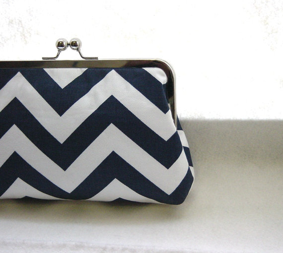 Wedding - Navy and White Chevron Clutch Purse  - Lined in Dupioni Silk - Charlie