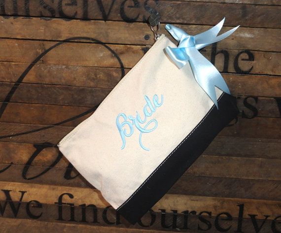 زفاف - 7 Monogrammed Canvas Color Block Clutches, Cosmetic Bag Set