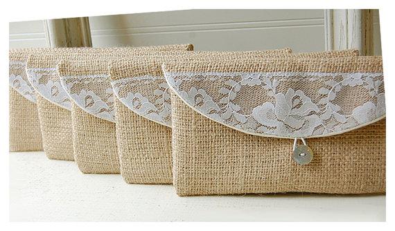 Wedding - burlap lace wedding, clutch purse, rustic wedding, rose color choice, Personalize, Bridesmaid gift, wedding clutch, bridal clutch, pouch