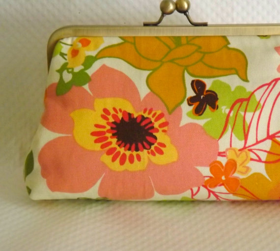 Wedding - Bridal Clutch - Wedding Clutch - Bridesmaids Clutch - Floral Wedding Purse - Kitty Bridal Purse