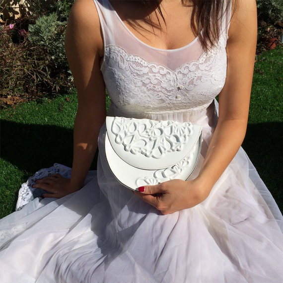 Wedding - Small and cute white bridal clutch bag, unique handmade wedding clutch purse, small white round clutch, pvc clutch with shoulder chain