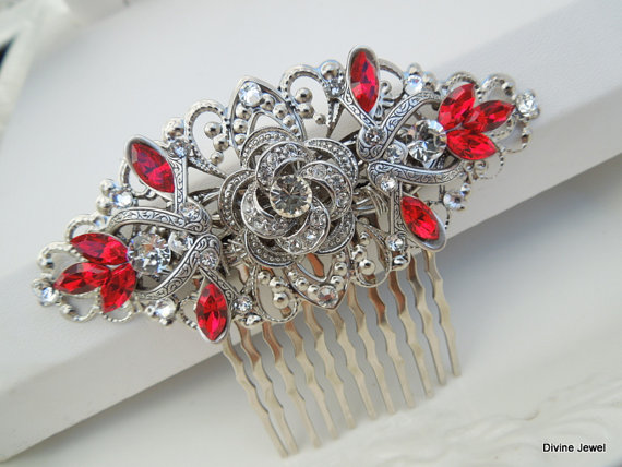 Mariage - Bridal Rhinestone Hair Comb,Wedding Rhinestone Hair Comb,Bridal Jewelry,Rose Rhinestone Hair Comb,Swarovski Crystals,Red Crystas,ROSELANI