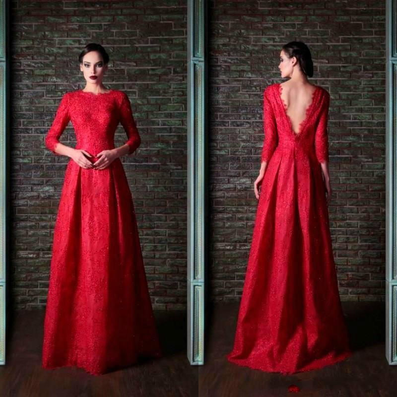Wedding - Modest Lace Long Sleeve Evening Dresses Floor Length Gowns Dubai Arabia 2016 V Neck Back A Line Party Dress Prom Pageant Formal Ball Online with $109.48/Piece on Hjklp88's Store