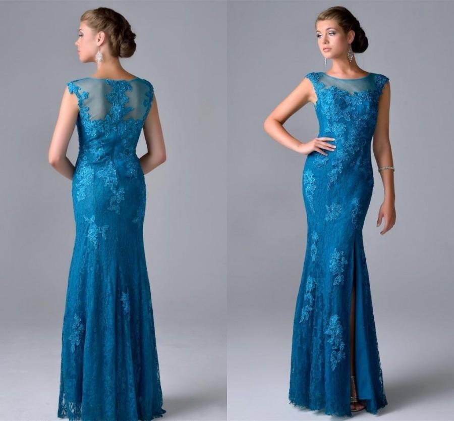 Elegant Mermaid Lace Evening Dresses 2016 Jewel Sheer Neck
