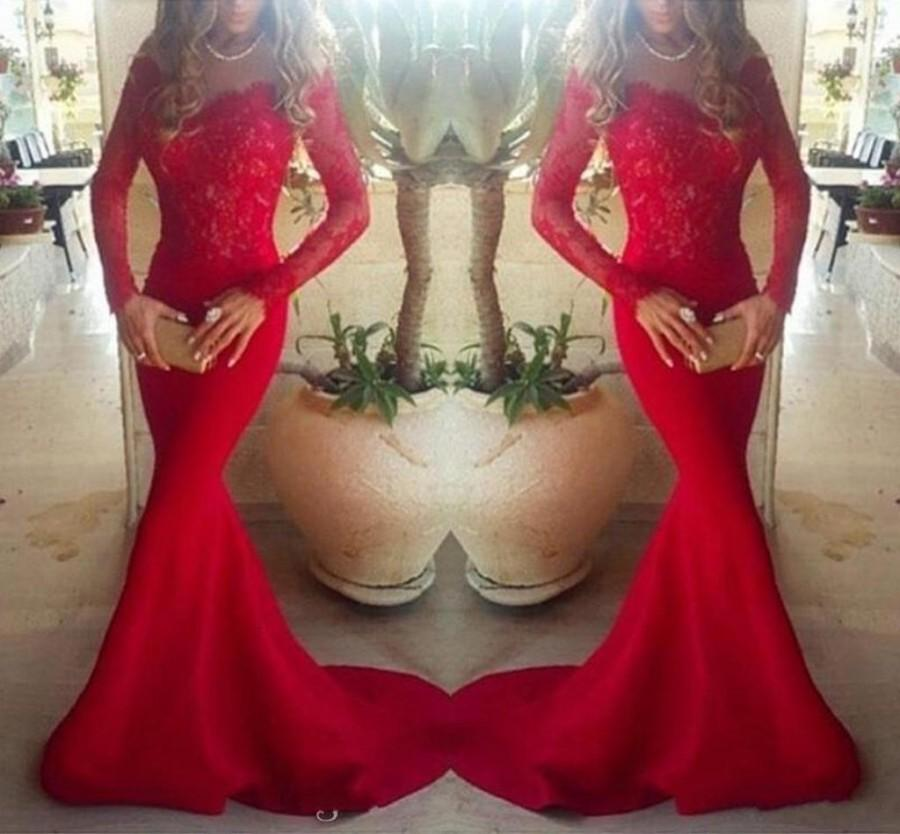 Wedding - Stunning Long Sleeve Lace Mermaid Evening Dresses Party Wear V-Neck Red Bodice Illusion 2016 Satin Trumpet Sheer Long Prom Pageant Gowns Online with $115.71/Piece on Hjklp88's Store