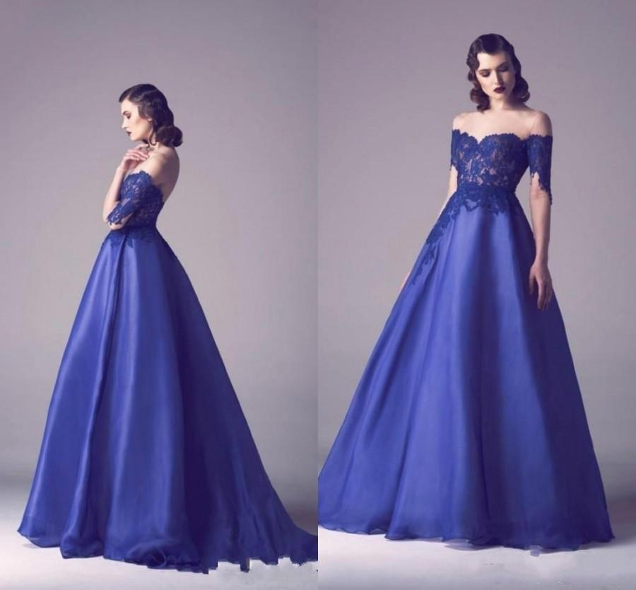 Fashion Royal Blue Evening Dresses 2016 Off Shoulder Lace Satin ...