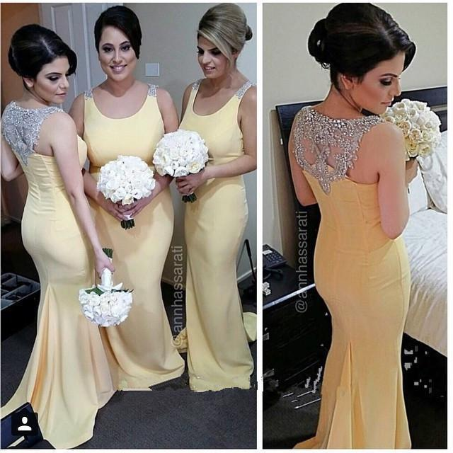 Hot Ing 2017 Yellow Bridesmaid Dresses Chiffon Scoop Neck Beaded Back Mermaid Long Maid Of Honor Dress Party Formal Gown Prom Online With