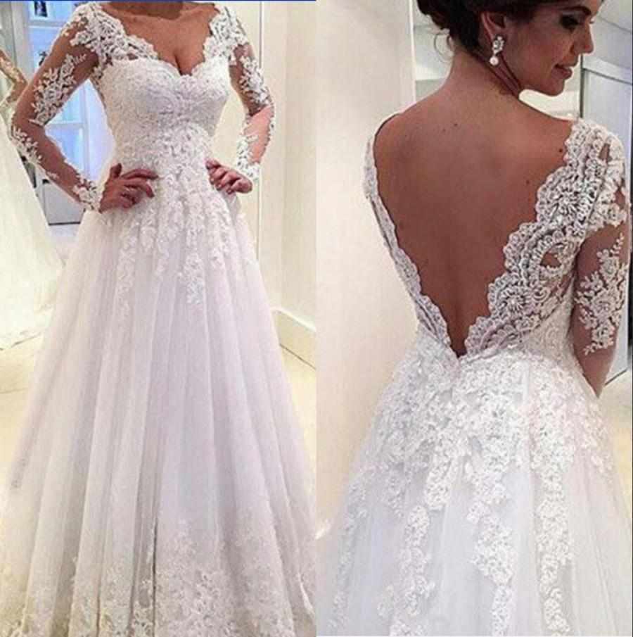 Real Image Long Sleeve Lace Wedding Dresses 2017 White Illusion Sheer Lique V Neck A Line Chapel Train Bridal Ball Gowns Online With