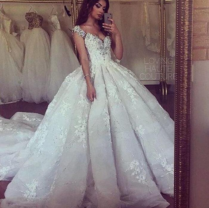 Свадьба - Exquisite Fall Wedding Dresses 2015 Applique Elie Saab Beads Crystal V-Neck Capped A-line Court Train Bridal Dresses Ball Gowns Custom Online with $145.97/Piece on Hjklp88's Store