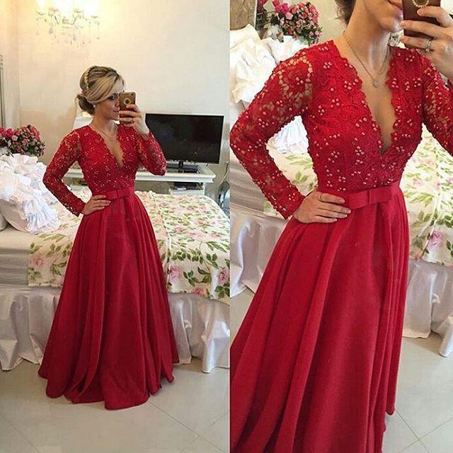 2f959423e1 Elegant A-Line V-Neck Evening Dresses Prom Gown Beaded 2015 Floor Length  See Through Red Lace Chiffon Long Sleeves Long Party Formal Ball Online  with ...