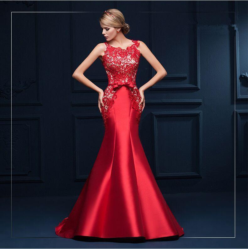f3444d94caf6 Exquisite Mermaid Evening Dresses with Sheer Neckline Lace Satin Crew  Sleeveless Red Fashion Sweep Train Party Dresses Long Prom Gowns Online  with ...