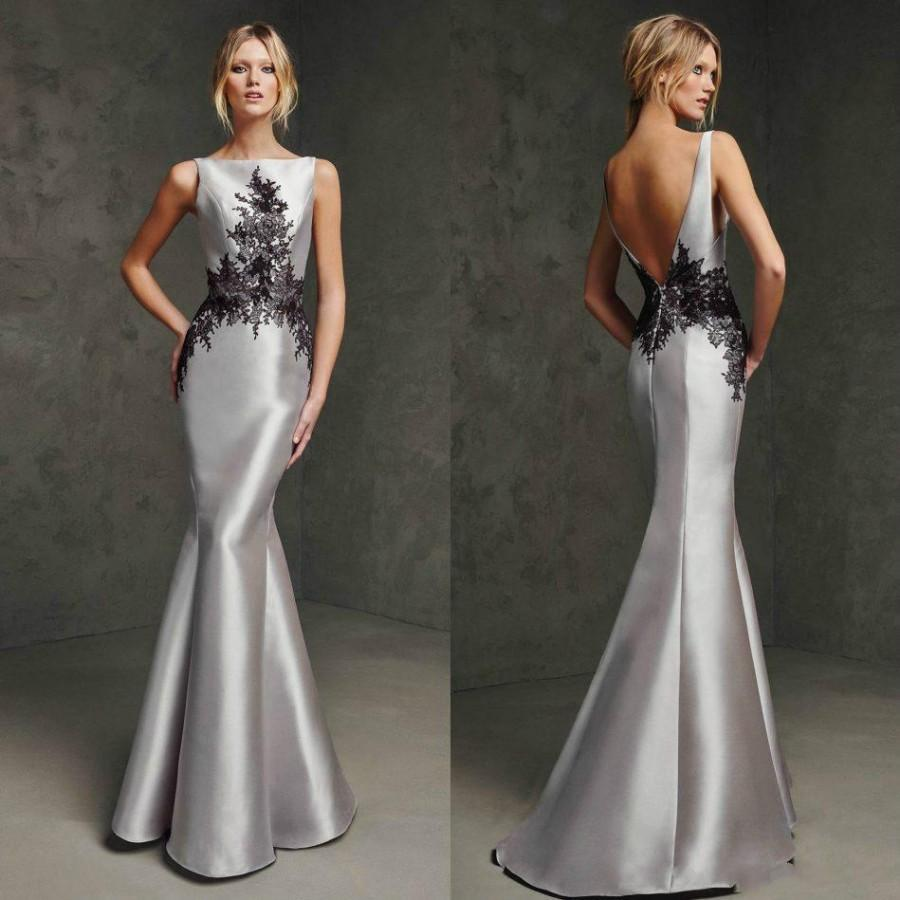 Modest 2015 Silver Mermaid Evening Dresses Backless Lace ...