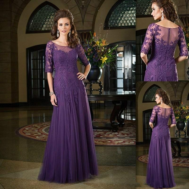 Dark Purple Mother Of Bride Dresses 2017 Half Sleeves Dress The Groom Tulle Lique Lace Sheer Neck Long Wedding Evening Party Gown Online With