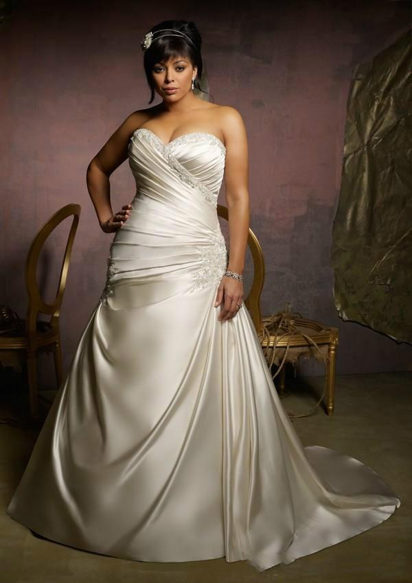 Mariage - Stunning Plus Size Wedding Dresses 2015 Satin Lace Cheap Train Applique Beaded Bridal Gowns Sleeveless Sweetheart Lace Up Back Ruched Online with $122.83/Piece on Hjklp88's Store